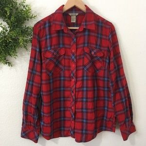 Duluth Trading Co Red/Blue Plaid Flannel